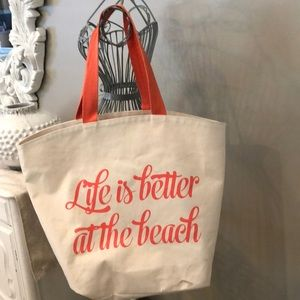 "Handbags - ""Life Is Better At The Beach"" cream/coral tote bag"
